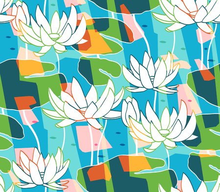 Floral seamless pattern background. Ornament with stylized water-lily on colorful background. Classic chinese motif Illustration