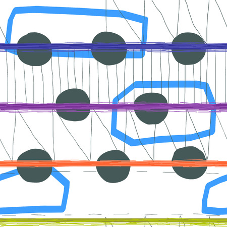 Seamless hand drawn geometric pattern design. Modern artistic style. Freehand digital brush pencil strokes trendy composition Illustration