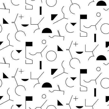 Geometry abstract seamless pattern. Linear motif background. Simple geometric shapes, triangles, squares, lines and circles