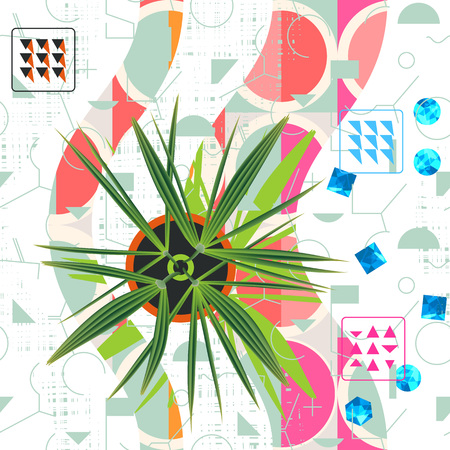 Floral abstract seamless pattern. Exotic plant over geometrical shapes and hand patterns