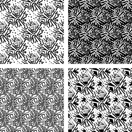 Abstract seamless pattern set. Linear hand drawn motif background collection. Lines and dots monochrome decoration design in trendy freehand style