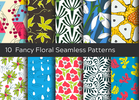 Floral seamless pattern background set ornaments with stylized leaves, flowers, and fruits