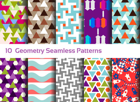 Geometric seamless pattern background set of abstract motifs colorful shapes compositions, triangles, squares, and waves