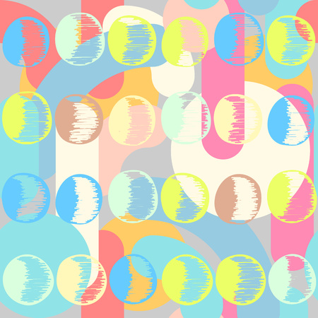Abstract seamless pattern in artistic style. Colorful shapes on geometrical background. Trendy decoration design