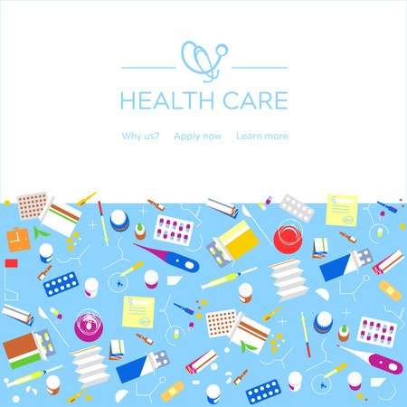 Health care medical background. Medicine insurance health check concept. Healthcare protection research and treatment. Online diagnosis flyer, brochure, website banner layout