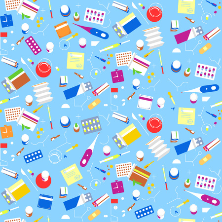 Seamless pattern pharmacy drugs background. Medicine icon pills, capsules, vitamins medical tablets. Medical remedy collection set
