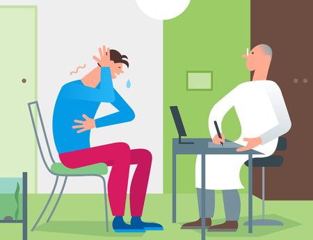Patient doctor office consultation. Medical practitioner therapist examining young man for diagnosis. Simple flat cartoon illustration