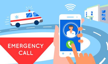 Emergency call concept illustration. Ambulance car, hands dialing number ambulance service operator, hospital building. Modern flat style design 일러스트