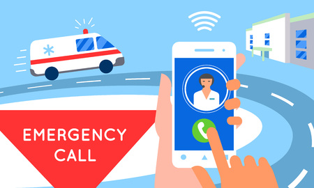 Emergency call concept illustration. Ambulance car, hands dialing number ambulance service operator, hospital building. Modern flat style design Vettoriali