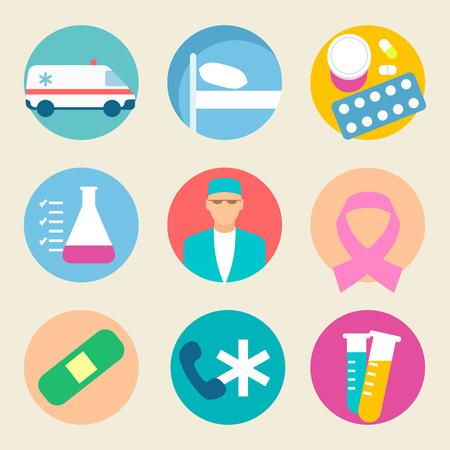 Medical icon set. Health care, medicine service hospital doctor illustration. Flat graphic design.