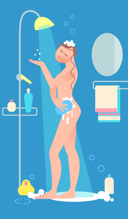 Woman taking shower. Daily routine activities of women. Relaxing girl in bathroom. Flat style vector illustration