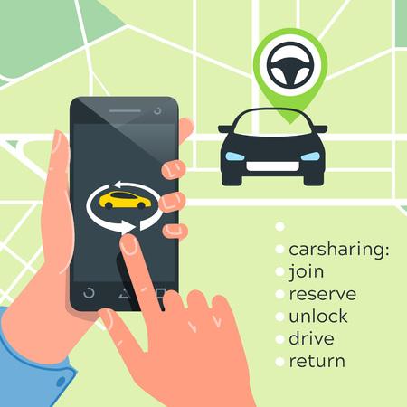 Car sharing service concept. Carsharing renting car mobile app. Hands phone  logo template rental car illustration