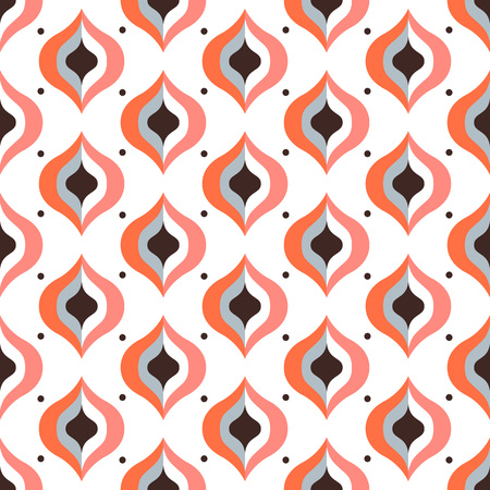 Geometric abstract seamless pattern background. Colorful shapes of curves and circles. Square composition, modern trend design