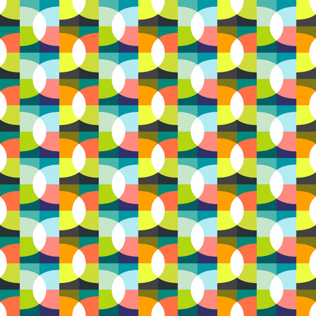 Geometric abstract seamless pattern background. Colorful shapes of curves, waves and semicircles. Square composition, modern trend design