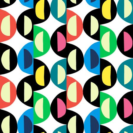 Geometrischer abstrakter nahtloser Musterhintergrund. Bunte grobe primitive Formen von Kurven und Halbkreisen Vektorgrafik
