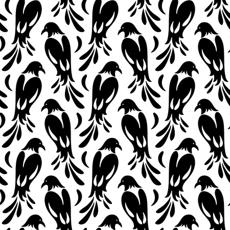 Seamless pattern of birds similar to magpie. Stylized silhouettes, black on white Vector Illustratie