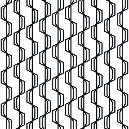 Abstract geometric seamless pattern. Simple wavy zigzag stripes background. Monochrome modern decoration design