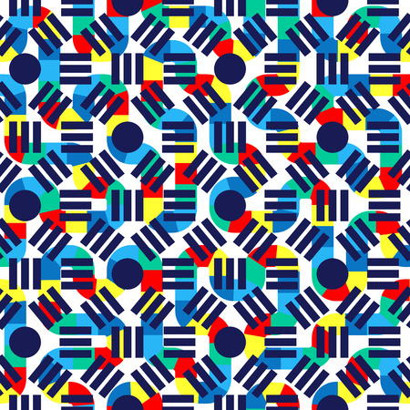 Geometric abstract seamless pattern. Linear motif background. Vibrant colors decoration design