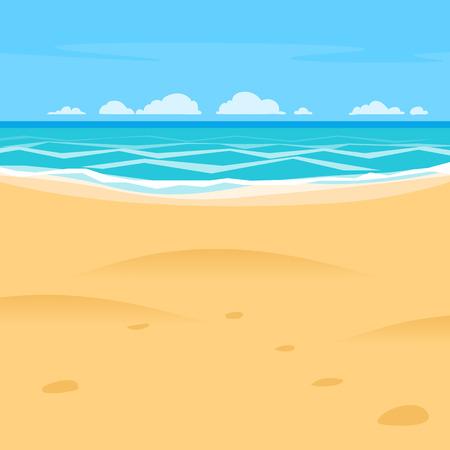 Sand beach simple cartoon style background. Sea shore view Ilustração