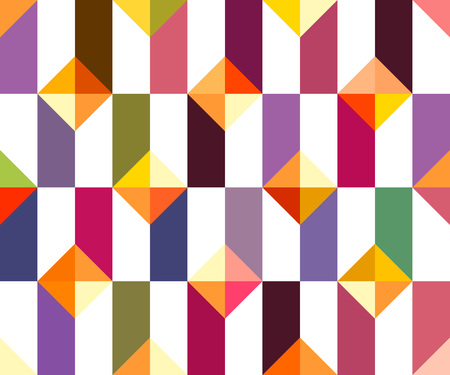 Geometric abstract seamless pattern. Patchwork motif background. Colorful shapes of mosaic ornament