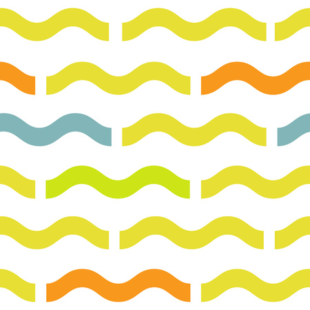 Waves geometric seamless pattern. Simple summer style background. Colorful decoration design 向量圖像