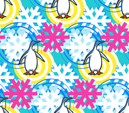 Geometrical snowflakes seamless pattern with penguin. Winter Christmas decorative background. Snow fall flakes illustration