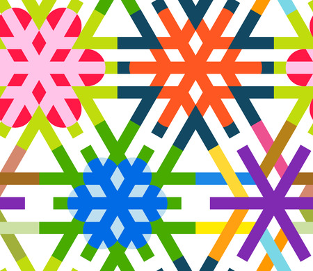 Geometrical snowflakes seamless pattern. Winter Christmas decorative background. Snow fall flakes illustration