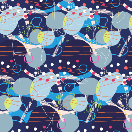 Abstract seamless pattern in artistic style. Colorful brush strokes and dots. Trendy decoration design