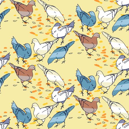 Seamless pattern background. Pigeons silhouettes on colorful abstract geometric shapes. Birds and leaves on hexagonal grid. Autumn fall motif, set of two color variants Ilustração