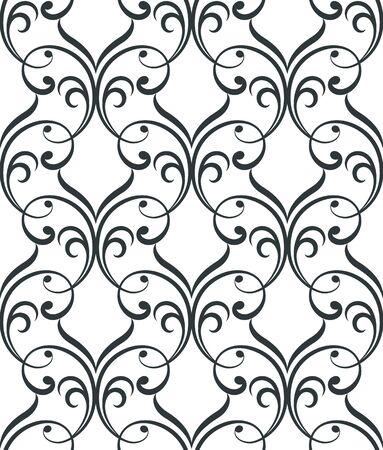 Geometric floral abstract seamless pattern. Linear motif background. Monochrome decoration design Ilustração
