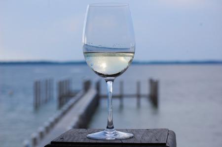 pensacola beach: Wine Glass and Bay Stock Photo