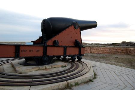 Florida, Fort Pickens, Pensacola, sea grass, sea oats, Sunset, cannon Stock Photo