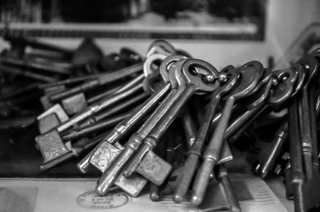 Black and white photo of vintage keys