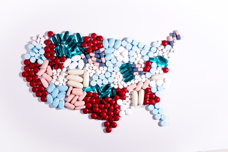 United States map made of pills Banco de Imagens - 84263862