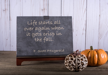 Chalkboard with autumn saying by F. Scott Fitgerald with two pumpkins Zdjęcie Seryjne