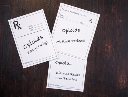 Opioid prescriptions with warnings to discuss risks, benefits, at risk patient and short term dose