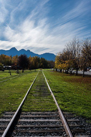 Railroad tracks through grass with mountains in background