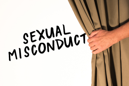 The words Sexual Misconduct being revealed from behind a curtain Zdjęcie Seryjne
