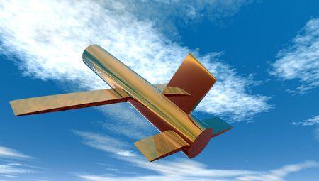 真鍮製飛行機 写真素材