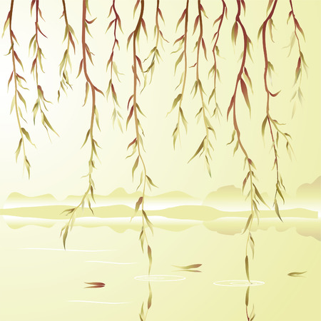 willow: Weeping willow above the river. Vector illustration