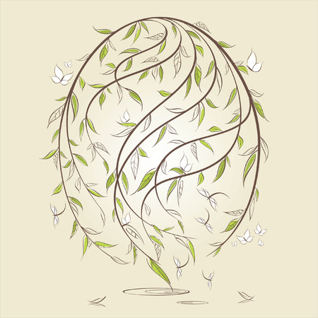 Stylized easter egg with floral elements Vector