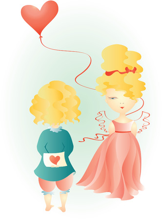 The vector illustration of fairy girl and boy with hearts Vector