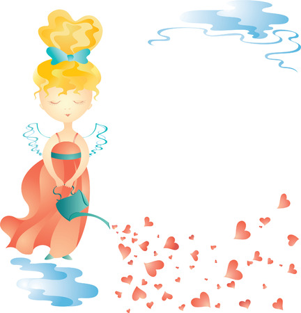Love fairy with water can. Vector illustration Vector