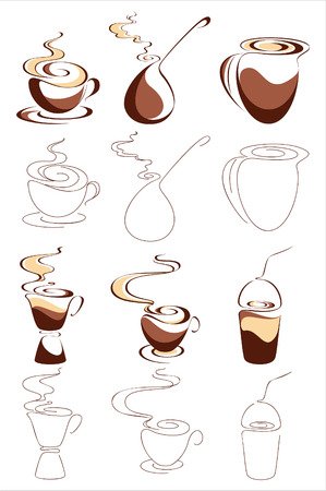 sillhouette: Coffee. Elements for design. Vector illustration Illustration