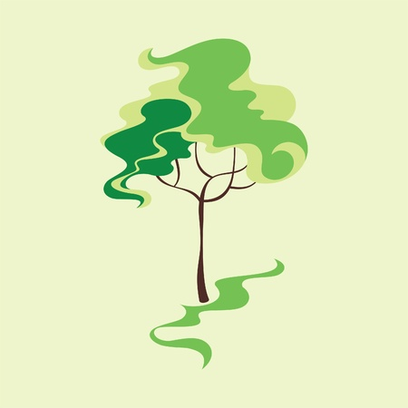 square root: Card with stylized tree. Vector illustration