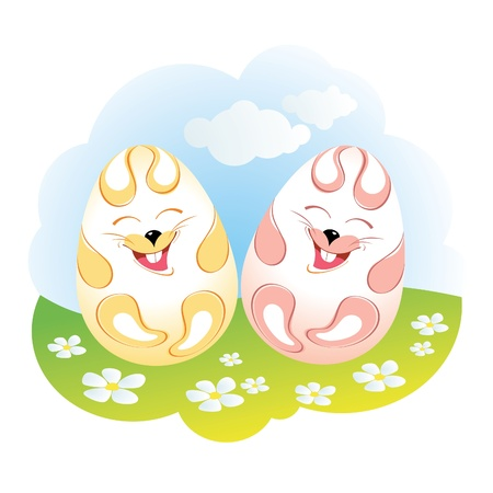 Funny easter rabbit eggs among flowers Vector