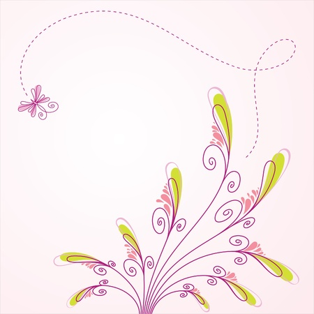 Vector floral background, greeting card Illustration