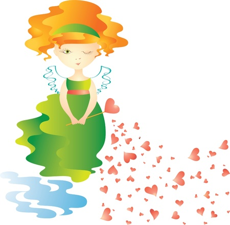 Love fairy with magic wand. Vector illustration Stock Vector - 9317626
