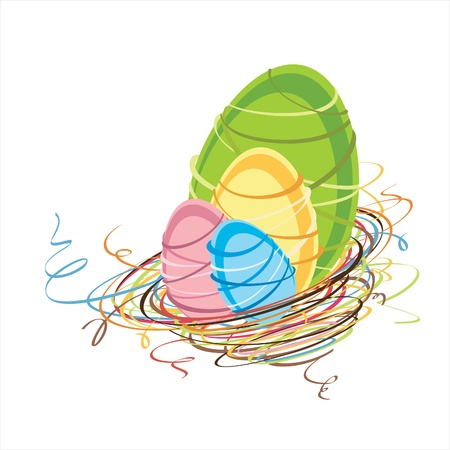 Stylized easter nest with colorful eggs