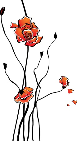 Vector card with stylized poppies